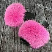 handmade. Livemaster - original item Arctic Fox flip-flops. Handmade.
