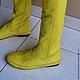 Обувь ручной работы. Ярмарка Мастеров - ручная работа. Купить Сапоги из натуральной кожи питона. Handmade. Разноцветный, сапоги из кожи