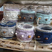 Для дома и интерьера ручной работы. Ярмарка Мастеров - ручная работа Вязаный чехол на кружку, чайная пара. Handmade.