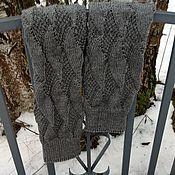 Аксессуары ручной работы. Ярмарка Мастеров - ручная работа Гетры женские вязаные ажурные серые гетры высокие вязаные спицами. Handmade.