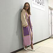 Пальто женское вязаное спицами,вязаные крючком  демисезонное, кардиган