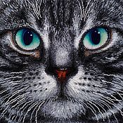 """handmade. Livemaster - original item The picture """"Cat"""" embroidered with beads. Handmade."""