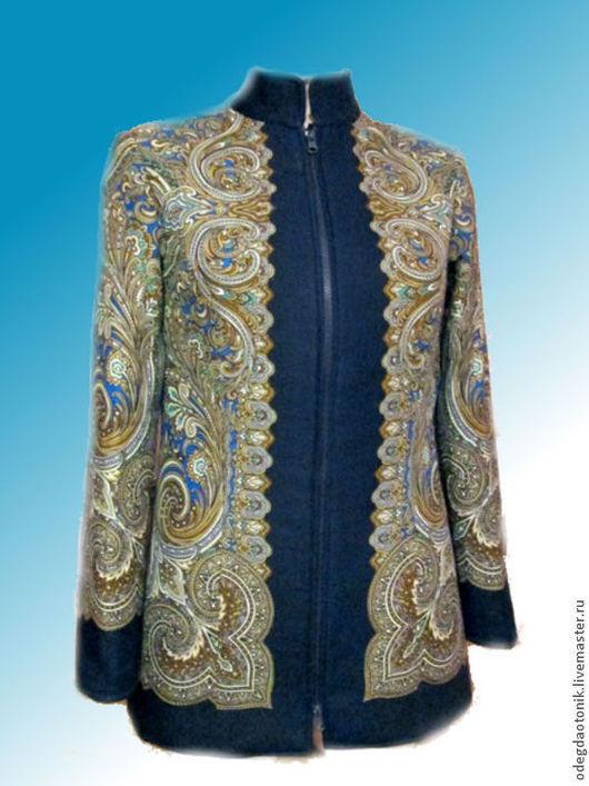 """Верхняя одежда ручной работы. Ярмарка Мастеров - ручная работа. Купить Куртка """"Февраль"""" осенняя. Handmade. Синий, Куртка из платка"""