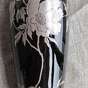 Винтаж handmade. Livemaster - original item ANTIQUE VASE BOHEMIAN HAND-MADE GLASS.SILVER PAINTING. Handmade.