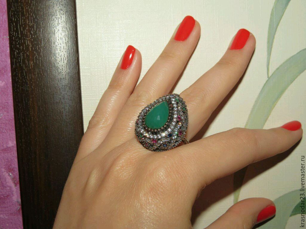 Ring of 925 SILVER with a chrysoprase framed tourmalines, Rings, Krasnodar,  Фото №1
