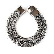 Украшения handmade. Livemaster - original item Wide Stainless Steel Chainmaille Bracelet Elfsheet Weave. Handmade.