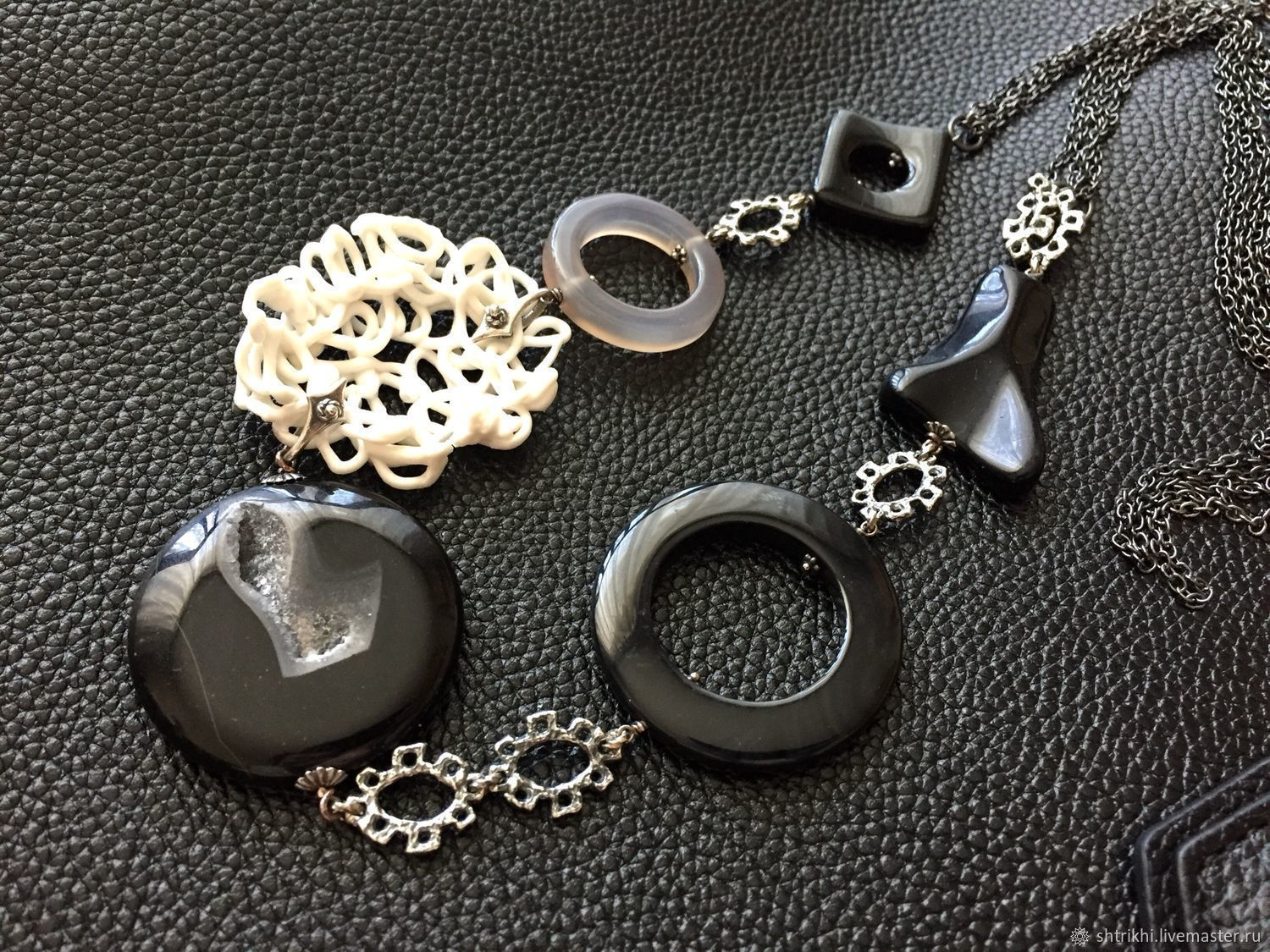 Necklace the Essence of the form. Natural stones, designer porcelain, Necklace, Moscow,  Фото №1