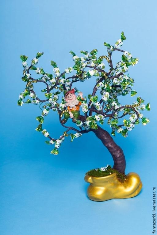 Кулинарные сувениры ручной работы. Ярмарка Мастеров - ручная работа. Купить Конфетное дерево с гномиком. Handmade. Разноцветный, конфеты