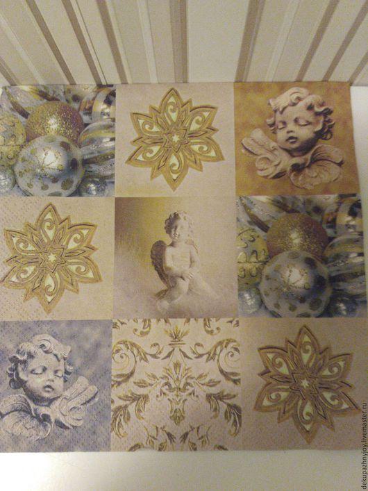 Салфетка для декупажа - Новогодние узоры: ангел, орнамент, шары Декупажная радость