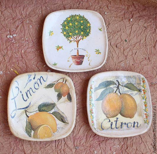 """Декоративная посуда ручной работы. Ярмарка Мастеров - ручная работа. Купить Тарелки - панно """"Лимончики"""". Handmade. Комбинированный, панно на стену"""
