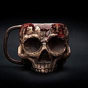 handmade. Livemaster - original item Mug Skull in blood (Bloody Skull) Realistic mug for tea and coffee. Handmade.