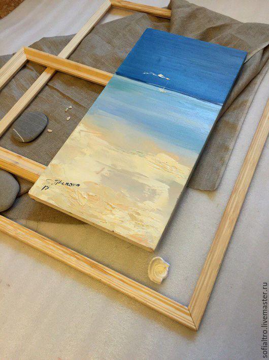 Пейзаж ручной работы. Ярмарка Мастеров - ручная работа. Купить Океан. Handmade. Голубой, холст на подрамнике