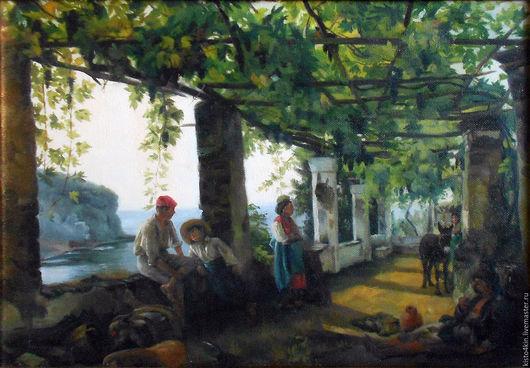 """Пейзаж ручной работы. Ярмарка Мастеров - ручная работа. Купить """"Веранда, обвитая виноградом"""" копия  с картины С.Ф.Щедрина. Handmade."""