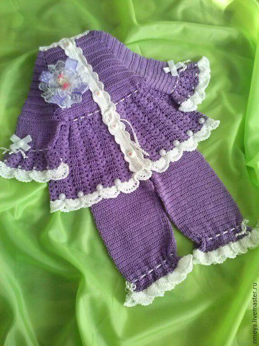 """Одежда для девочек, ручной работы. Ярмарка Мастеров - ручная работа. Купить комплект на малышку""""фиалка"""". Handmade. Фиолетовый, комплект, на малышку"""
