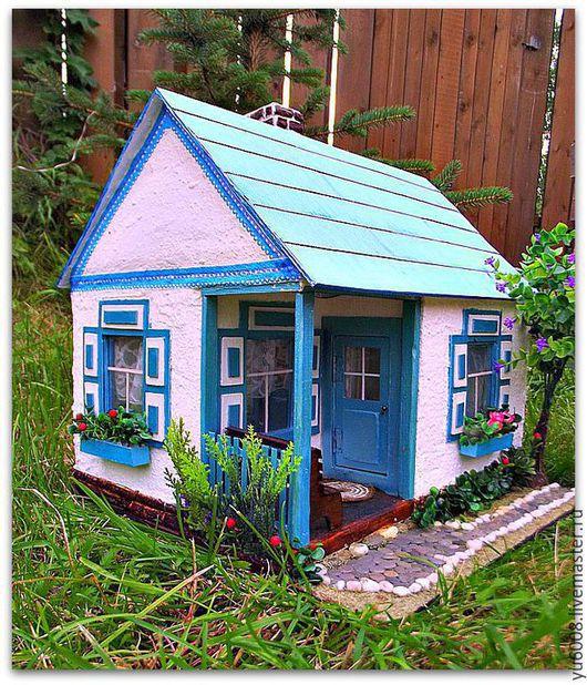 """Кукольный дом ручной работы. Ярмарка Мастеров - ручная работа. Купить Миниатюрный домик """"Гжель"""".. Handmade. Разноцветный, миниатюра для кукол"""