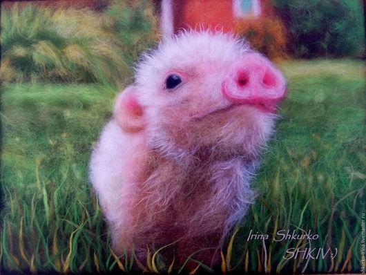 """Животные ручной работы. Ярмарка Мастеров - ручная работа. Купить """" Хрюшка"""", картина из шерсти.. Handmade. Картина из шерсти"""