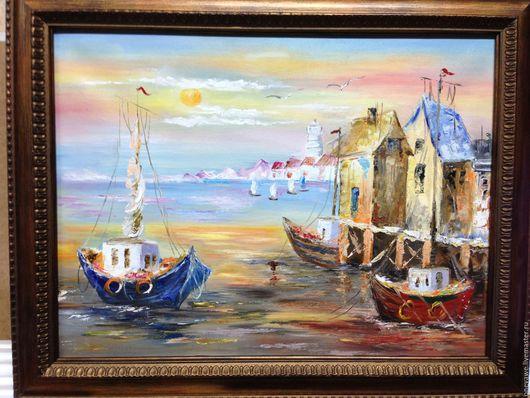 Пейзаж ручной работы. Ярмарка Мастеров - ручная работа. Купить море и лодочки. Handmade. Голубой, причал, море, морской пейзаж