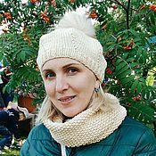 Headwear Sets handmade. Livemaster - original item Knit set: beret with pompom Snood Beige and Berty. Handmade.