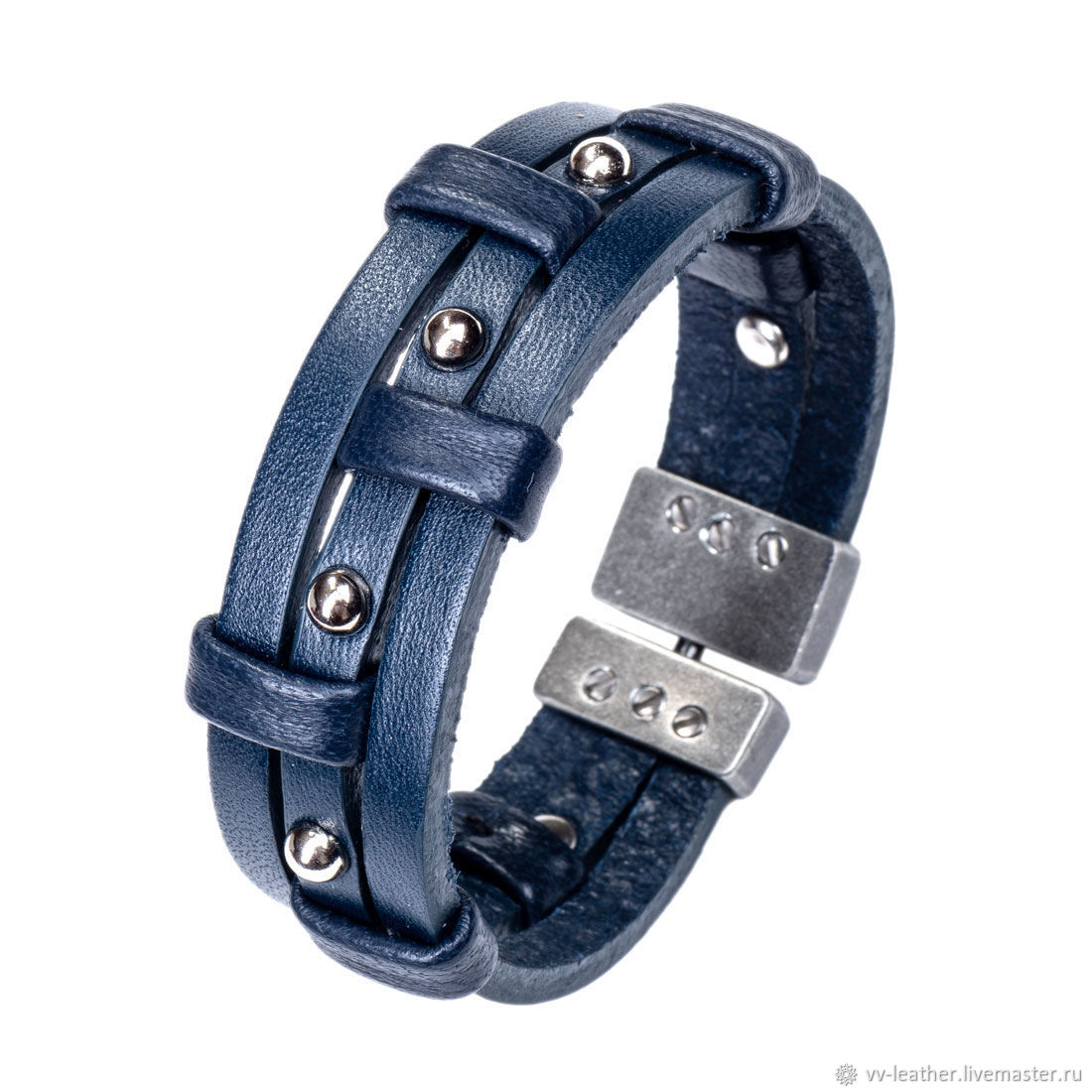 Blue leather bracelet with three studs, Bead bracelet, Moscow,  Фото №1