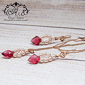Украшения handmade. Livemaster - original item Jewelry set with quartz