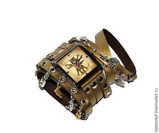"""Часы ручной работы. Ярмарка Мастеров - ручная работа. Купить Стимпанк часы наручные на кожаном ремне- """"Кот Да Винчи"""". Handmade."""