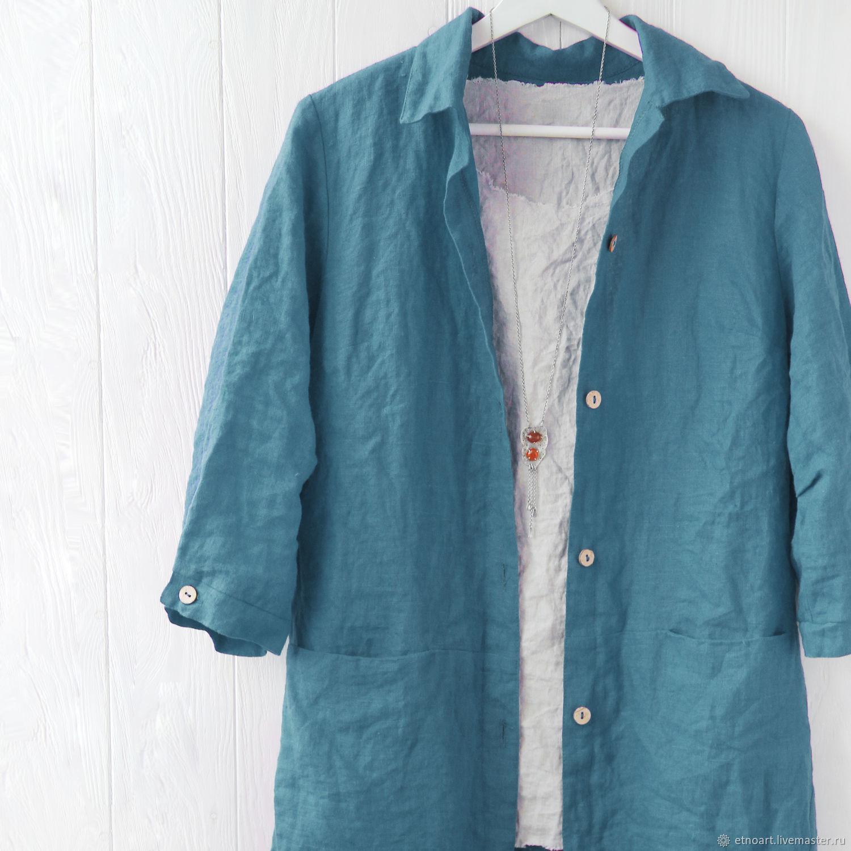 Платье-рубашка из темно-бирюзового льна, Рубашки, Томск,  Фото №1