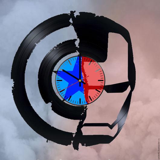 """Часы для дома ручной работы. Ярмарка Мастеров - ручная работа. Купить Часы из пластинки """"Marvel"""". Handmade. Marvel, iron man"""