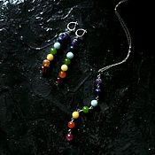 Украшения handmade. Livemaster - original item Silver pendant and earrings 7 chakras. 925 sterling silver. Handmade.