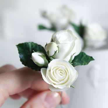 Свадебный салон ручной работы. Ярмарка Мастеров - ручная работа Заколка шпилька с белыми розами набор из 3 шпилек. Handmade.