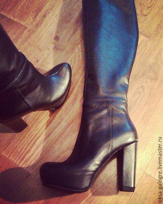 Обувь ручной работы. Ярмарка Мастеров - ручная работа. Купить Женские сапоги. Handmade. Черный, индивидуальный пошив