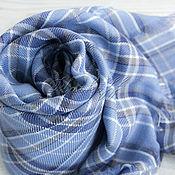 "Аксессуары handmade. Livemaster - original item Синий шейный  платок в клетку ""Casual"". Handmade."