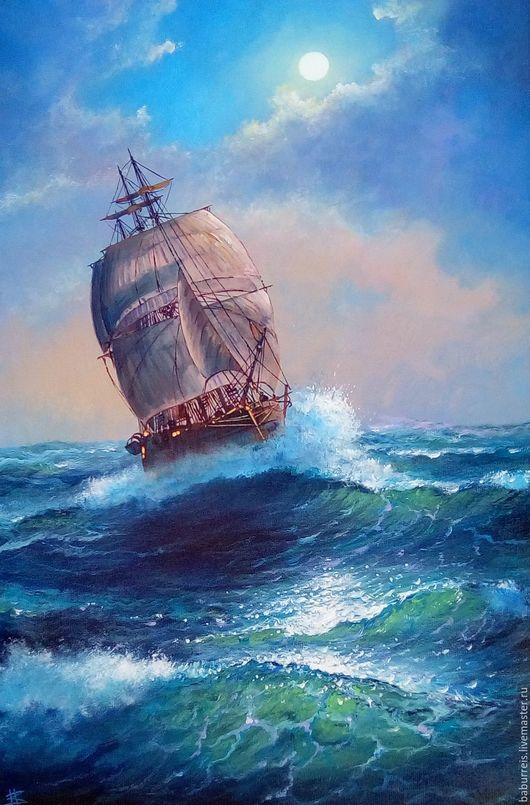 Пейзаж ручной работы. Ярмарка Мастеров - ручная работа. Купить Магия Черного моря. Handmade. Комбинированный, картина на заказ