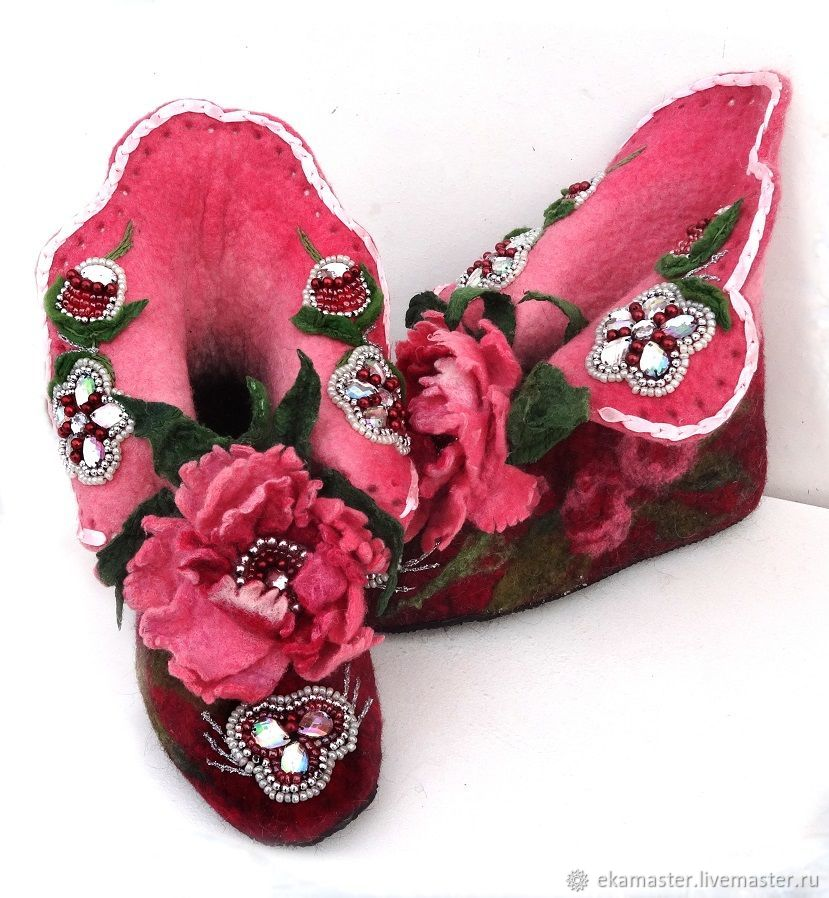 Slippers felted Pets .Boots home 'Peonies', Slippers, Ekaterinburg,  Фото №1