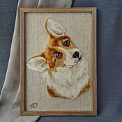 Картины и панно handmade. Livemaster - original item Picture panel portrait Welsh Corgi Felted picture. Handmade.
