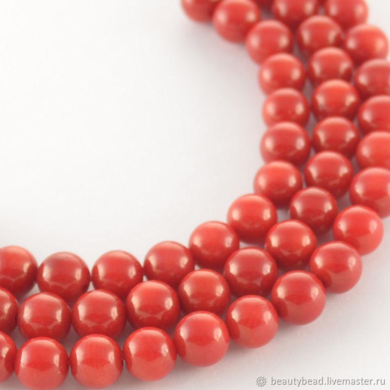 Коралл красный бусины круглые 6 мм, Бусины, Тверь,  Фото №1