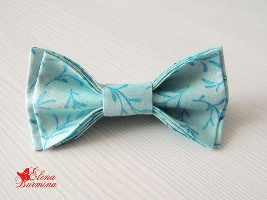 Галстуки, бабочки ручной работы. Ярмарка Мастеров - ручная работа. Купить Бабочка галстук бирюзовая с голубым рисунком, хлопок. Handmade.