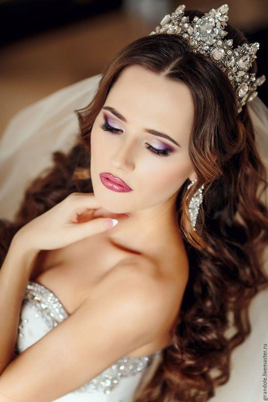 """Свадебные украшения ручной работы. Ярмарка Мастеров - ручная работа. Купить Свадебная тиара-корона для волос """"Серебряный Век""""  в стиле D&G. Handmade."""