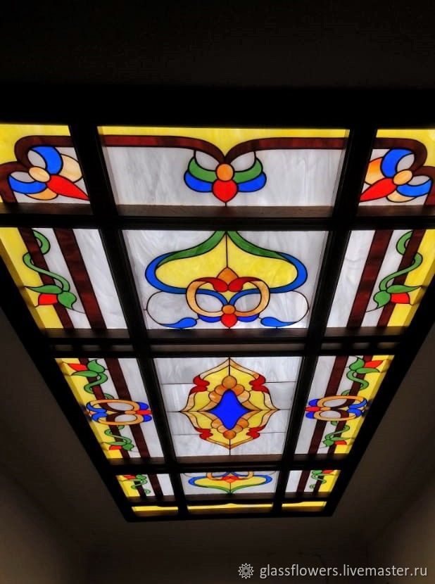 Stained Glass Tiffany. Tiffany ceiling stained glass in the frame, Interior Items handmade, St. Petersburg, Фото №1