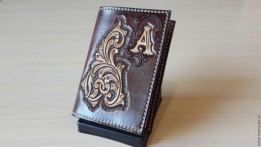 Обложки ручной работы. Ярмарка Мастеров - ручная работа. Купить Именная обложка на паспорт, кожаная обложка для паспорта с монограммой. Handmade.