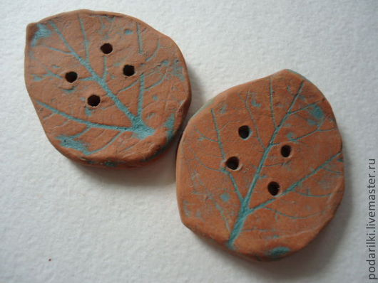 Шитье ручной работы. Ярмарка Мастеров - ручная работа. Купить керамические  пуговицы Рыжие листья. Handmade. Рыжий, шитье, лепка
