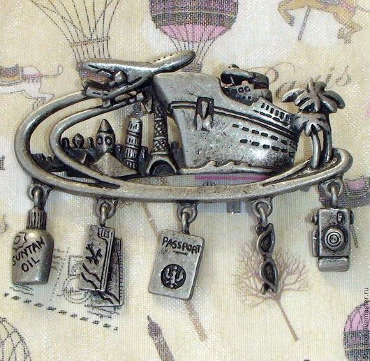 """Винтажные украшения. Ярмарка Мастеров - ручная работа. Купить Брошь """"Путешественнику"""" под олово (Danecraft США). Handmade. Рыжий, путешествие"""