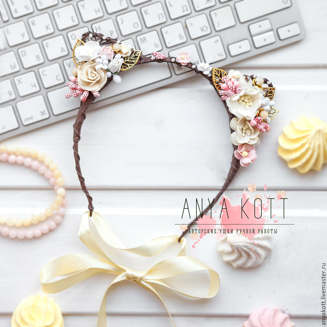 Cat ears headband with gold leaves – shop online on Livemaster with ...