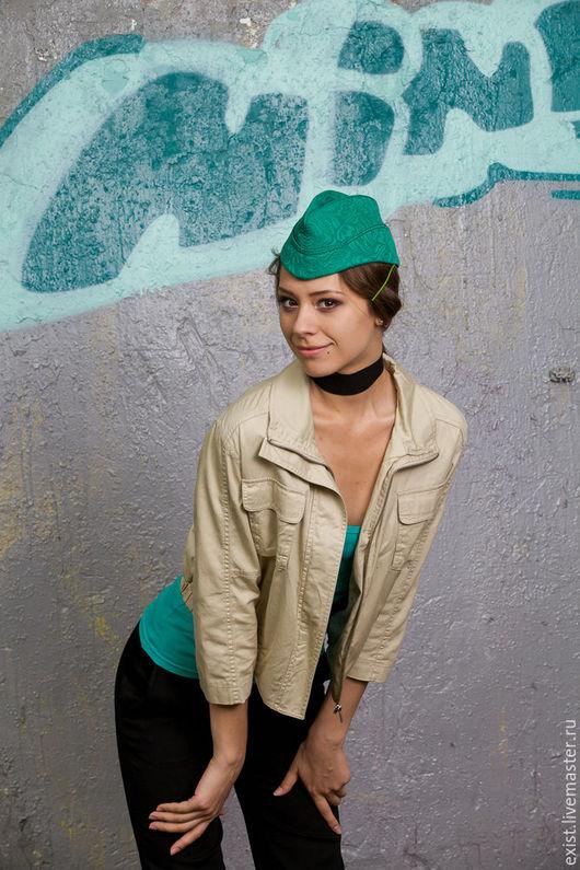 Шляпы ручной работы. Ярмарка Мастеров - ручная работа. Купить Пилотка летняя из жаккардового хлопка изумрудная. Handmade. Ярко-зелёный