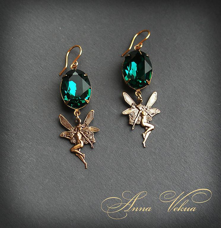 Earrings 'Swarovski, vintage fairies', Earrings, St. Petersburg, Фото №1