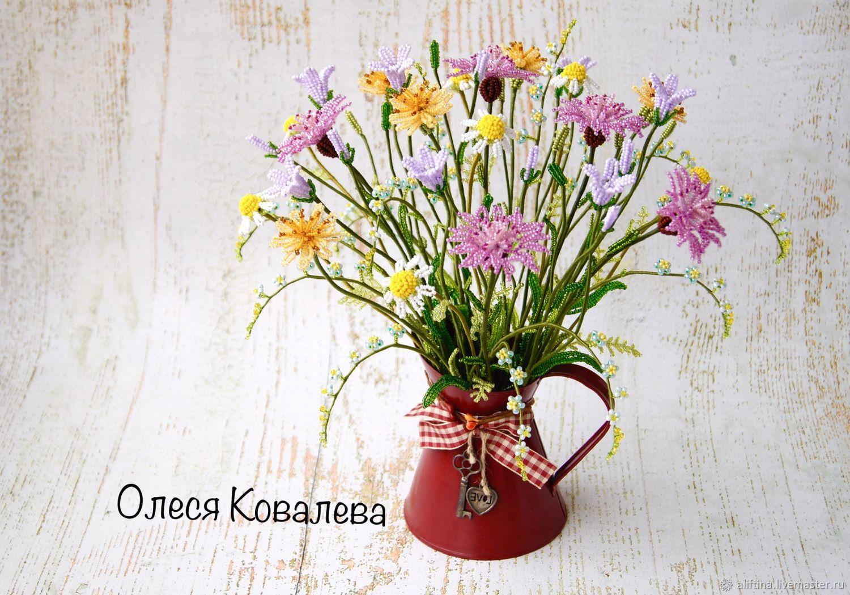 Полевые цветы из бисера, Букеты, Москва, Фото №1
