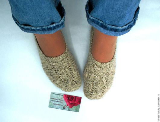 """Обувь ручной работы. Ярмарка Мастеров - ручная работа. Купить Вязаные тапочки-следки """"Деревенька"""" носки вязанные. Handmade. Следки"""