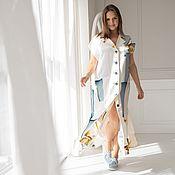 Одежда handmade. Livemaster - original item Floor-length vest dress in printed satin. Handmade.