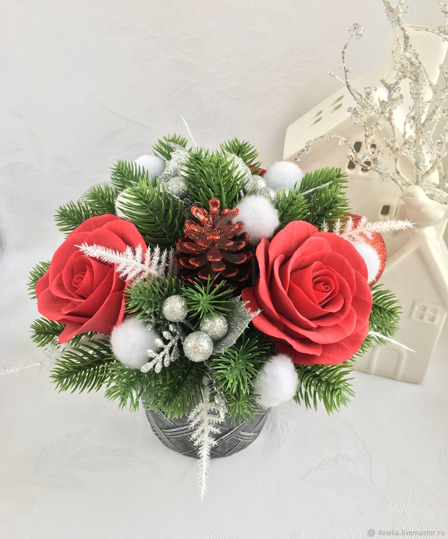 Новогодние букетов в москве дешево, цветы