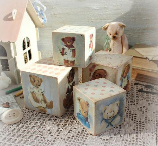 """Детская ручной работы. Ярмарка Мастеров - ручная работа. Купить Кубики  интерьерные """"Bears"""". Handmade. Серо-голубой, для детской комнаты"""