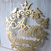 Свадебный салон handmade. Livemaster - original item Gold monogram with date (large). Handmade.